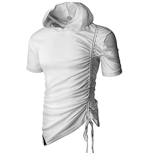 VEZAD Men Summer Solid Color Hooded T Shirt Short SleeveTop Fashion Casual Blouse White