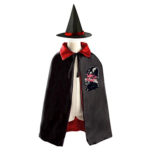 Mystical Sorceress Costume (Red Solder Skull Halloween Costume Wizard Witch Children Cloak Cosplay Cape Hat)
