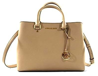 Michael Kors Savannah Saffiano Leather Large Satchel Crossbody Bag Purse Handbag Beige Size: Medium