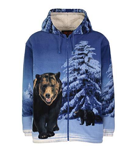 TrailCrest Men Women's Hoodie Sweatshirt Zip up Sherpa Fleece Grizzly Bear Jacket Wildkind