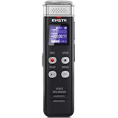 EVISTR 16GB Digital Voice Recorder Voice Activated Recorder with Playback - Upgraded Small Tape Recorder for Lectures, Meetings, Interviews, Mini Audio Recorder USB Charge, -