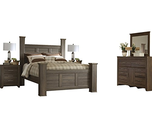 Ashley Juararo 5PC Cal King Poster Bedroom Set With Two Nightstand In Dark Brown