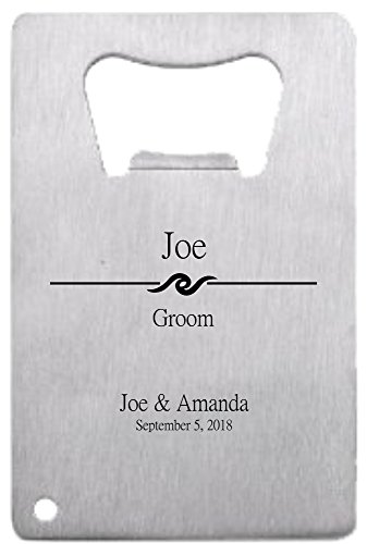 Lazer Designs Groomsman Credit Card Bottle Opener Personalized Monogrammed For Free Stainless Steel Wave 1 Piece]()