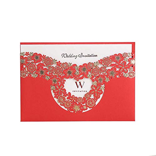 Wedding Hot Stamping Process Laser Cutting Wedding Invitation Free Print Customization and Envelopes Blank Page 7.3 X 4.9 in 100Pcs