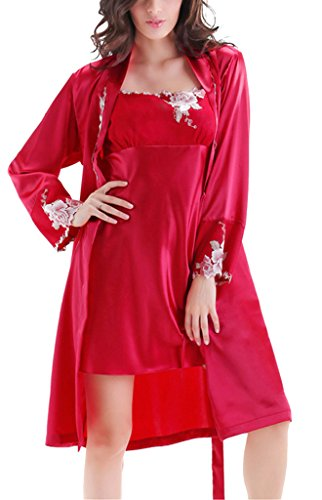Tortor 1Bacha Women's Silk Like Applique Embroidered Nightgown and Robe Set Red 12 ()