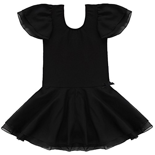 Teen Dance Costumes (FEESHOW Girls' Gymnastic Ballet Dance Tutu Dress Leotard Skirt Princess Costume Hot Black #2 7-8)