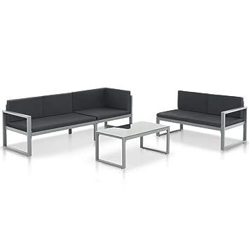 vidaXL Set de Sofás de Jardín de Aluminio Negro 3 Piezas ...