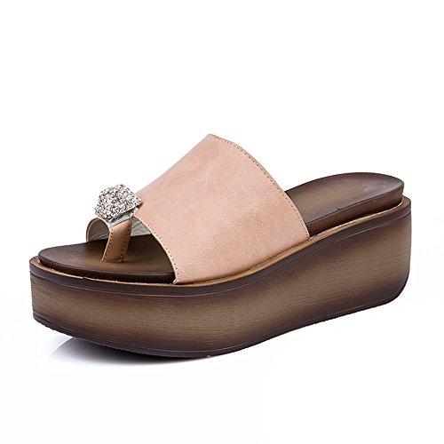 Playa amarillento Pink De La Para Zapatos Inferiores Haizhen negro rosado Rhinestones Sandalias Mujer 6cm Los blanco Mujeres Gruesos Deslizadores Manera qRF6PC