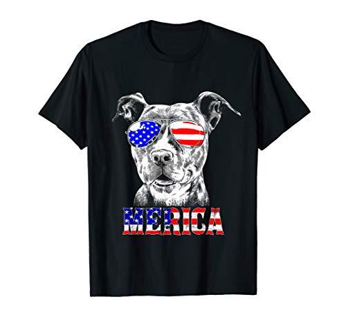 Merica Pitbull Funny Patriotic Dog Pit Bull Gift  T-Shirt