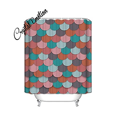 Crystal Emotion Longer Colorful Fish scales Shower Curtain