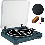 Audio-Technica Fully Automatic Bluetooth Wireless Belt-Drive Turntable LE Navy (AT-LP60NV-BT) + Universal 12' Silicone Rubber Turntable Platter Mat & Vinyl Record Cleaning Fluid System with Brush