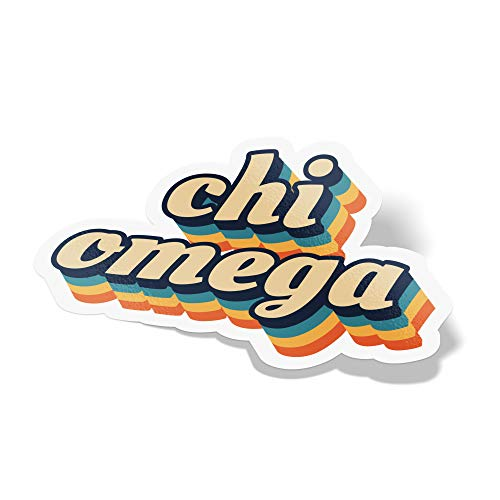 Desert Cactus Chi Omega 70's Letter Sticker Decal Greek Tall for Window Laptop Computer Car