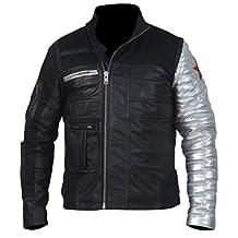 Winter Black Captain Bucky Soldier America Barnes Leather Silver Sleeve Jacket