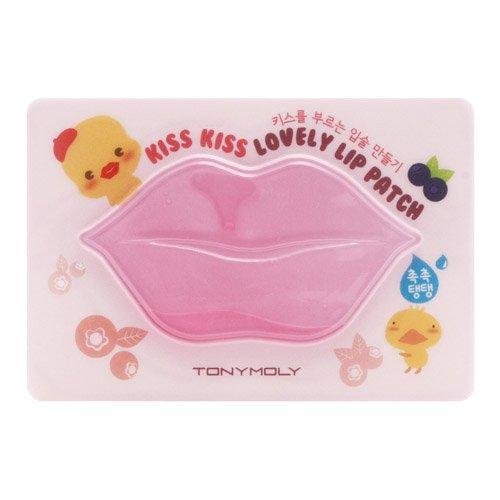Tony Moly - 1 x Kiss Kiss Lovely Lip Patch - Pinkes Lippenpad mit Hamamelis für mehr Lippenvolumen gegen trockene Lippen - Lippenpads Aufpolsterung - Volume Booster - Pflegestifte & Lippenbalsam - Anti Falten / Aging Lippenpflege - Feuchtigkeit für Ihre Lippen / Lips