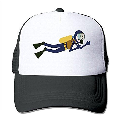 Hat Diver (Mesh Baseball Caps Scuba Diver Adjustable Sports Trucker Cap Sun Hats for Golf Cycling Running Fishing Outdoor)