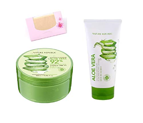 Cleansing Cream Face Soothing - BUNDLE - Nature Republic New Soothing Moisture Aloe Vera GEL 92% 300ml + Nature Republic Soothing & Moisture Aloe Vera Foam Cleanser 150ml + SoltreeBundle Natural Hemp Paper 50pcs