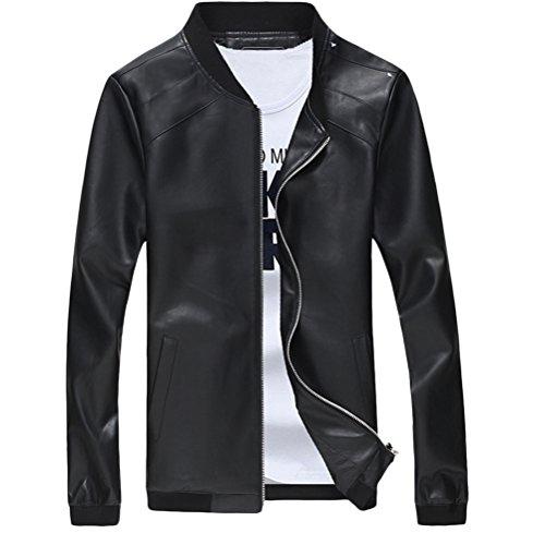 Coat Long Outerwear Classic Sleeve Jacket Zhhlaixing Leather Pu Black Casual Morbido Tops Mens E8qZza