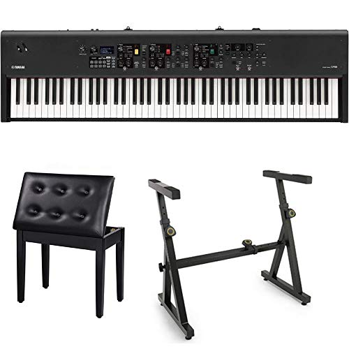 Yamaha CP88 88-Key Stage Piano Bundle with Heavy Duty Z-Stand, and Black Padded Piano Bench with Storage