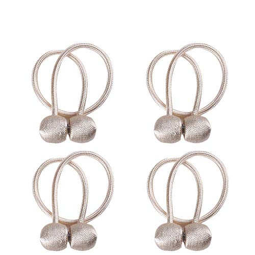 Dularf Magnetic Curtain Tiebacks 4 Pack Window Curtain Holdbacks Decorative Drape Rope Clip Magnetic Tie Band for Home Office Window Decor Accessories, Set of 4 (Light Gold) (Holdback Decorative)