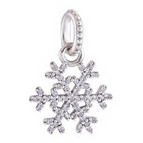 Burts Beads - Brand New Snowflake 925 Sterling Silver Winter Kiss CZ (Ab Snowflake Pendant)