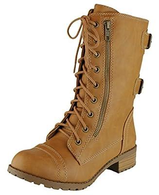 Cambridge Select Women's Round Toe Lace-Up Buckle Zipper Chunky Heel Combat Boot