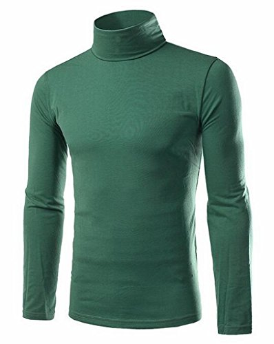 Generic Mens Basic Solid Color Long Sleeve Turtle Neck Slim T-Shirt Green M Turtle Green T-shirt