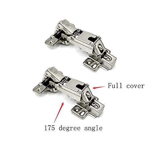 175 Degree Cabinet Hinges Face Frame Cabinet Doors Concealed Hinges Soft Close Wardrobe Door Self Closing Stainless Steel Hydraulic Buffer Dampers for Cupboard Gate Long Tail(1 Pair Full Coverage) - Hinge Surface Flush Closing Self