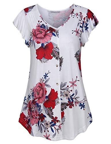 - Furnex Womens Tunics, Women's Elegant Pleated Flowy Tunic Shirts Floral Flutter Sleeve V Neck Button Front Going Out Tops(Large,White Red)