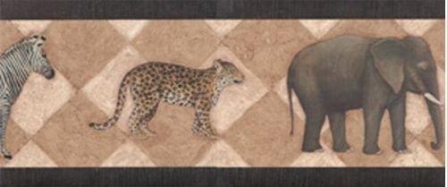 Blonder BG3364B Safari Wallpaper Border, Black