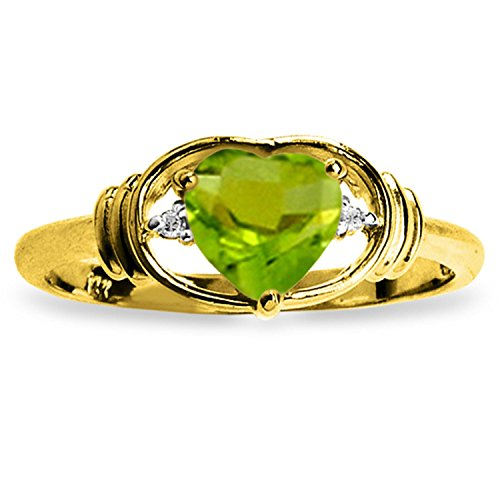 ALARRI 0.61 Carat 14K Solid Gold Love Prerequisite Peridot Diamond Ring With Ring Size 6.5 by ALARRI (Image #1)