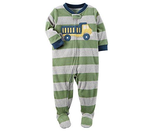 Carter's Boys' 12M-8 One Piece Striped Truck Fleece Pajamas Green 2T