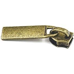 Fujiyuan 50 Sets #3 Zipper Puller Slider Stop B Pull Molded for Purse Handbag Bag Wallet Luggage Bronze
