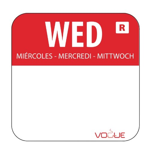 """1"""" Colour Coded Red Wednesday Food Safety Day Labels Food Rotation System Catering Hygiene Home Kitchen Restaurant Storage Wednesday - Red. 1000 labels per roll Vogue"""