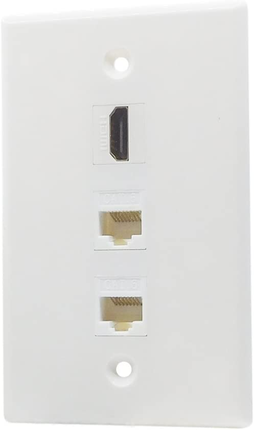1 Port HDMI 2 Port CAT6 Ethernet Wall Plate Female to Female White HDMI Ethernet Wall Plate