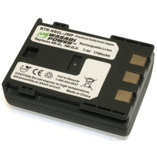 Wasabi Power Battery for Canon NB-2L, NB-2LH, BP-2L5 and Canon DC301, DC310, DC320, DC330, DC410, DC420, Elura 40, 50, 60, 65, 70, 80, 85, 90, EOS 350D, 400D, Digital Rebel XT, XTi, FV500, FVM20, FVM30, FVM100, FVM200, HG10, HV20, HV30, Optura 30, 40, 50, 60, 400, 500, PowerShot G7, G9, S30, S40, S45, S50, S60, S70, S80, VIXIA HF R10, HF R100, HF R11, HG10, HV20, HV30, HV40, ZR100, ZR200, ZR300, ZR400, ZR500, ZR600, ZR700, ZR800, ZR830, ZR850, ZR900, ZR930, ZR950, ZR960