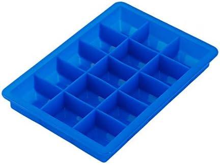 Bandeja para cubitos de hielo con tapa, 15 cavidades, formas cuadradas, moldes de silicona para hielo para whisky, bebidas, cócteles, botellas de agua, vasos de chupito, azul