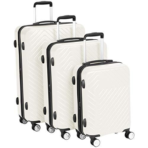 - AmazonBasics 3 Piece Geometric Hard Shell Expandable Luggage Spinner Suitcase Set - Cream
