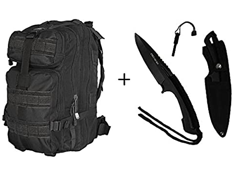 Ultimate Arms Gear Fixed Blade Knife with Fire Starter + Stealth Black Compact Assault Pack Backpack Level 3 Day Bug Out Bag Equipment Transport with Adjustable Shoulder Straps - Modular Knife Sheath