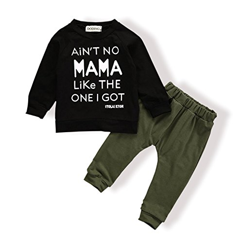 Doding Baby Kids Toddler Boys Girls Clothing Printed Tops Pants Leggings Outfits Clothes Set(18-24 Months)