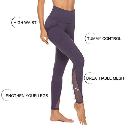 Persit Yoga Pants for Women with Pockets High Waisted Purple Mesh Workout Leggings Athletic Gym Fabletics Soft Yoga Leggings - Purple - M
