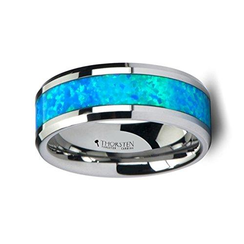 Thorsten Quasar Tungsten Men S Ring With Blue Green Opal Inlay
