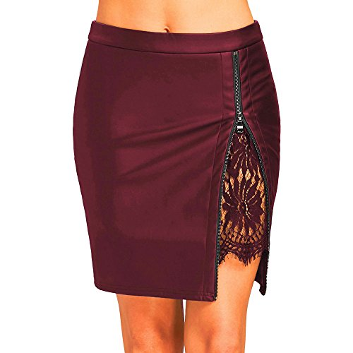 (WOCACHI Womens PU Leather Skirts Bodycon Fashion Lace Uniform Pleated Pencil Skirt 2019 Summer Under 5 Dollars Deals)
