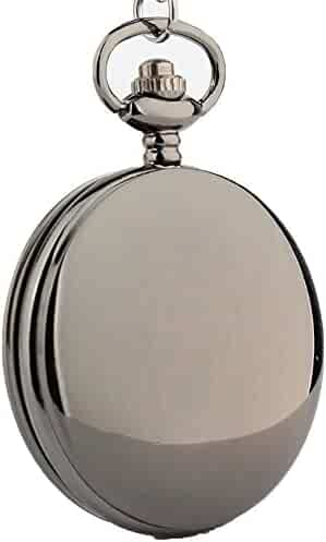 Zxcvlina Exquisite Smooth Vintage Flip Quartz Pocket Watch Black with Chain for Boys and Girls Metals Suitable for Mens Pocket Watch Gift