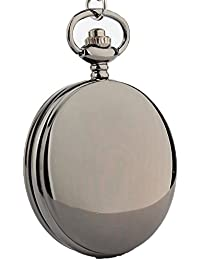 Exquisite Smooth Vintage Flip Quartz Pocket Watch Black with Chain for Boys and Girls Metals Suitable for Mens Pocket Watch Gift