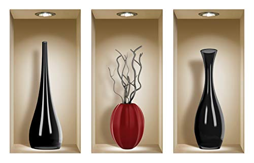 the Nisha Art Magic 3D Vinyl Removable Wall Sticker Decals DIY, Set of 3, Black and Red Ceramic Vases by the Nisha