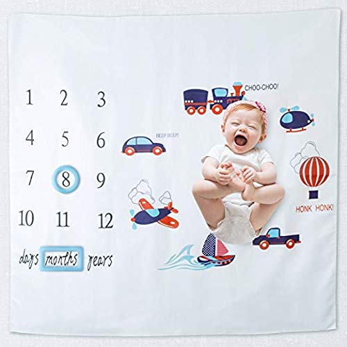 Baby Boy Milestone Blanket Monthly Blanket for Photography - Backdrop Photo Prop for Infant Newborn Babies