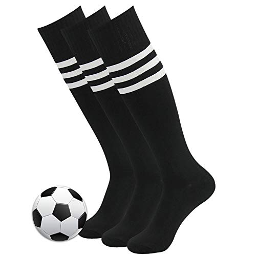 (3street Soccer Socks, Unisex Mens Arch Compression Support Athletic Football Team Socks Over Calf Volleyball Long Tube Socks Knee-High Compression Socks for School Group Black 3 Pair)