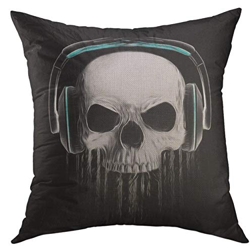 Mugod Decorative Throw Pillow Cover for Couch Sofa,Halloween Graphics Skull Evil Concert Rock Roll Music Illuminati Canvas Tattoo Varsity College Home Decor Pillow Case 18x18 inch -