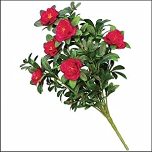 Windowbox Outdoor Artificial Red Azalea Bush 46