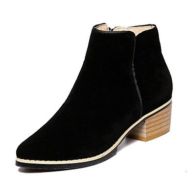 RTRY Zapatos De Mujer Polipiel Moda Otoño Invierno Pelusas Forro Bootie Botas Botas Botas De Combate Chunky Talón Señaló Toe Botines Botas/Tobillo. US6 / EU36 / UK4 / CN36